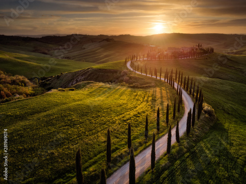 Foto auf Gartenposter Schokobraun Aerial drone landscape of famous Tuscany hills, Italy spring fields sunset Asciano Siena Firenze