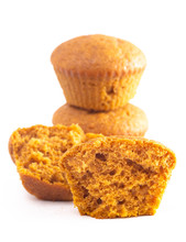 Pumpkin Spice Muffins On A Whi...