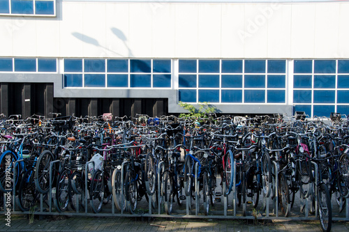 Fotografie, Obraz  bicycle parking open air multi storey netherlands amsterdam