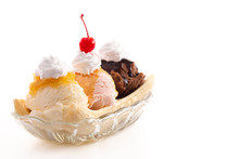 A Classic Banana Split Isolated On A White Background