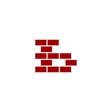 B Letter Shape Brick Logo Vector