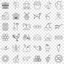 Farm Icons Set. Outline Style Of 36 Farm Vector Icons For Web For Any Design