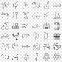 Property Icons Set. Outline Style Of 36 Property Vector Icons For Web For Any Design