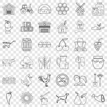 Housecraft Icons Set. Outline Style Of 36 Housecraft Vector Icons For Web For Any Design