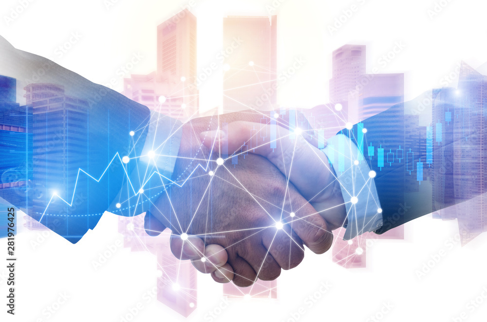 Fototapeta double exposure image of investor business man handshake with partner with digital network link connection and graph chart of stock market and cityscape background, investment and partnership concept