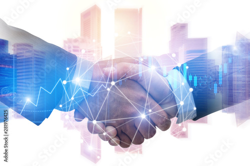 double exposure image of investor business man handshake with partner with digit Canvas Print