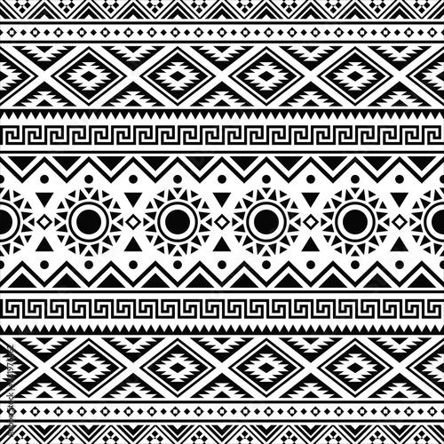 Fotografie, Obraz Ikat Aztec ethnic seamless pattern design in black and white color