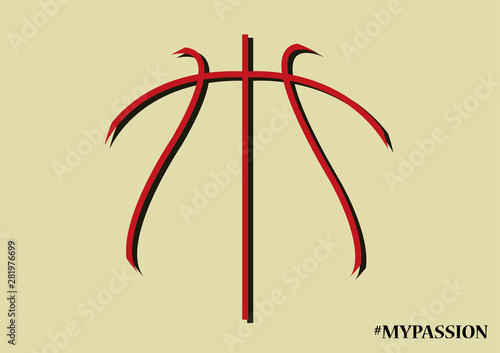 Fototapeta Basketball ball lines vector illustration. Passion of my life.  obraz