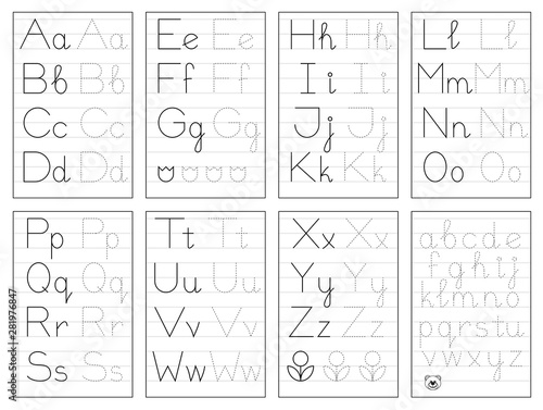 Set Of Black And White Educational Pages On Line For Kids. Trace Alphabet  Letters. Printable Worksheet For Children Textbook. Developing Skills Of  Writing. Vector For Baby Book. Back To School. - Buy