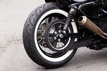 White Stripe Motorcycle Rear Wheel And Steel Exhaust Pipe