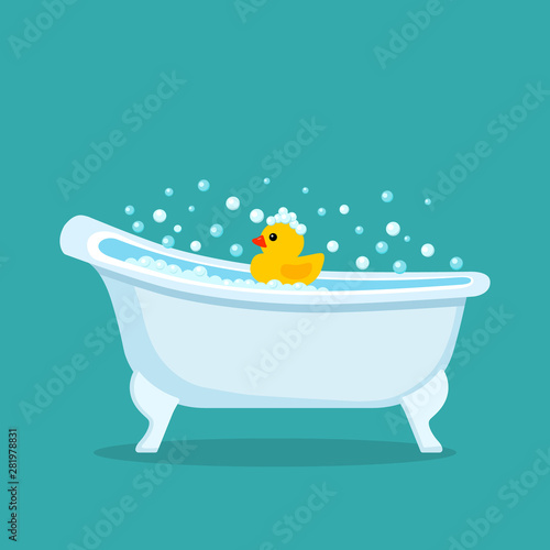 Fotografie, Tablou Retro bathtub with a rubber yellow duckling toy in the foam.