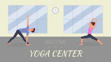Yoga Center Vector Banner Template. Couple Doing Sports, Sportive Man And Woman In Yoga Studio Exercising Cartoon Characters. Fitness Class, Meditation, Stretching Training Club Advertising