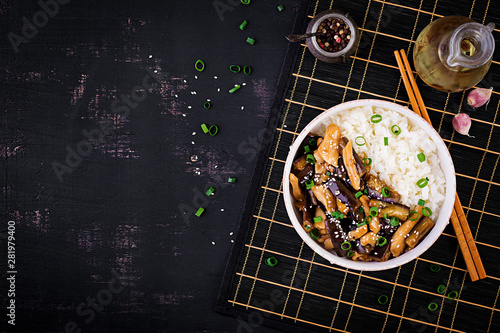 Photo  Stir fry with chicken, eggplant and boiled rice - Chinese food