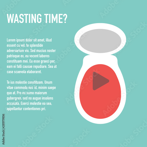 time wasting to toilet concept banner vector Fototapet