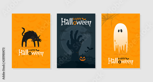 Spoed Fotobehang Halloween Set of Happy Halloween greeting cards or poster. Spooky black cat, zombie hand, ghost, traditional symbols. Vector illustration.