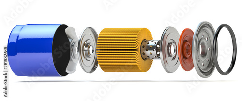 Cuadros en Lienzo  Car oil filter isolated on white. Exploded view.