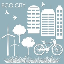 Template For Making Illustrations. Vector Image For Laser Cutting And Plotter Printing. Sticker Windmill, Bicycle, Wood, High-rise Buildings. Multistory Building. Scrapbooking