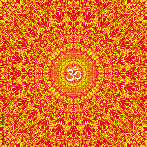 Colorful openwork mandala in red, orange and yellow colors Canvas Print