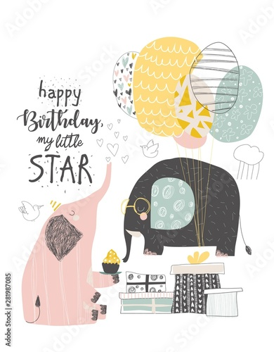 Greeting Birthday card with cute elephants and balloons