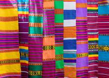 Traditional Ethiopian Textiles, Hand Made Colorful Scarf On Market, Lake Tana Ethiopia