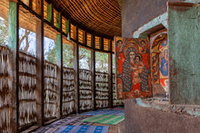 Zege Peninsula In Lake Tana. UNESCO Ura Kidane Mehret Church, Monastery From 14th Century By The Saint Betre Mariyam, Decorated With Painted Frescoes