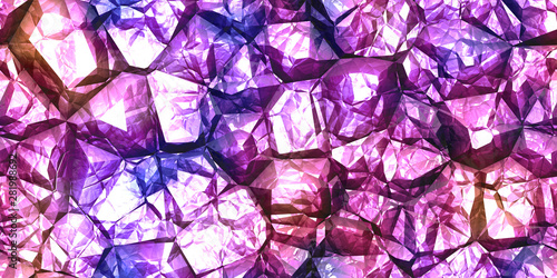 Foto auf Leinwand Künstlich Purple shiny colors rock stone texture. Crystal gem wall background. Gemstone seamless pattern.