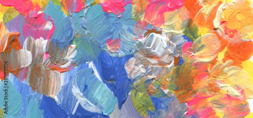 Abstract color acrylic brush strokes paint texture background.
