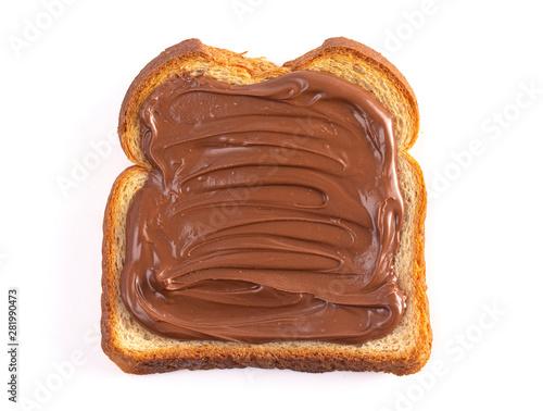 Stampa su Tela Toast with Chocolate Hazelnut Spread on a White Background