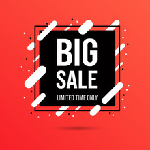 Big Sale Social Media Banner Template. Shopping Low Price Deals, Huge Discount For Customers Promotional Flat Vector Poster Layout. Store Promo Campaign, Special Offers For Clients Advertising