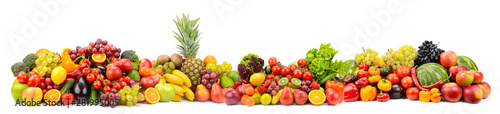 Fotografía  Different useful fruits and vegetables isolated on white background