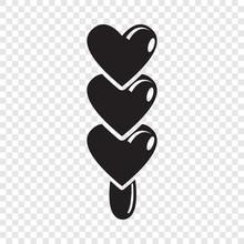 Three Hearts Ice Cream Icon. S...