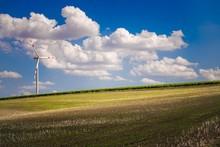 Farmlands And Wind Turbine