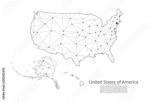 Fototapeta  The map of the network of the United States of America