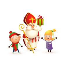 Saint Nicholas With Kids Girl And Boy Celebrate Holidays - Isolated On White Background