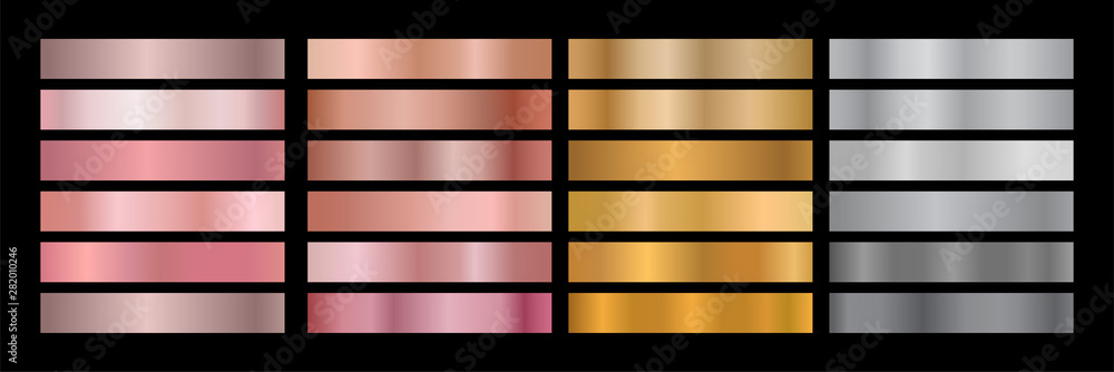 Fototapety, obrazy: Metal Gradient Collection of Rose Gold, Golden and Silver Swatches