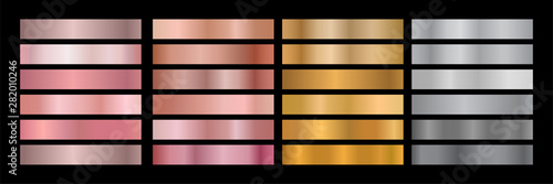 Fototapeta Metal Gradient Collection of Rose Gold, Golden and Silver Swatches obraz