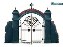 Gates To The Cemetery. Happy Halloween. 3d Vector Cartoon Object