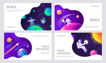 Set Of Web Banners Templates. Presentation. Space Explore. UFO.  Children Cartoon Vector Illustration. Science. Horizontal Banners. EPS 10