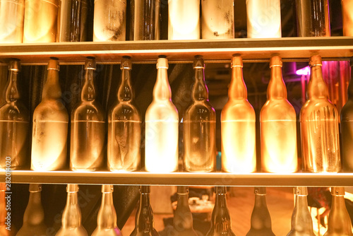 Canvas Prints Bar Set of wine bottles in the fashion city cafe with nobody