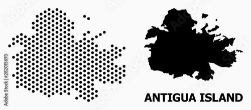 Photo Dotted Mosaic Map of Antigua Island