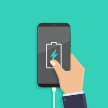 Hand Holding Smartphone That Is Being Charging On Turquoise Blue Background, Charge Battery Notification, Flat Design Vector Illustration