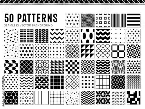Poster Artificiel 50種類のシンプルなモノクロパターン