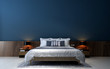 Leinwanddruck Bild The modern bedroom interior design and blue wall texture background