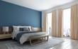 Leinwanddruck Bild - The modern bedroom and blue wall texture background