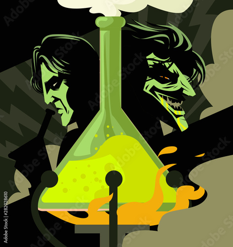 doctor jekyll and mister hyde test lab experiment tube poster Canvas Print