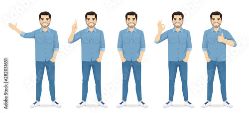 Vászonkép Handsome man in casual clothes standing in different poses set isolated vector i