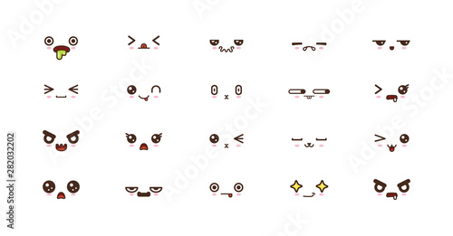 Kawaii cute faces smile emoticons. Japanese emoji Canvas Print