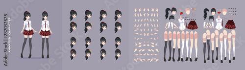 Anime manga girl character animation motion design - 282032626