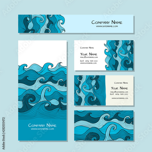 Fotomurales - Corporate flat mock-up template. Sea waves design