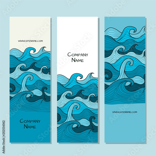 Fotomurales - Vertical banners design. Sea waves background